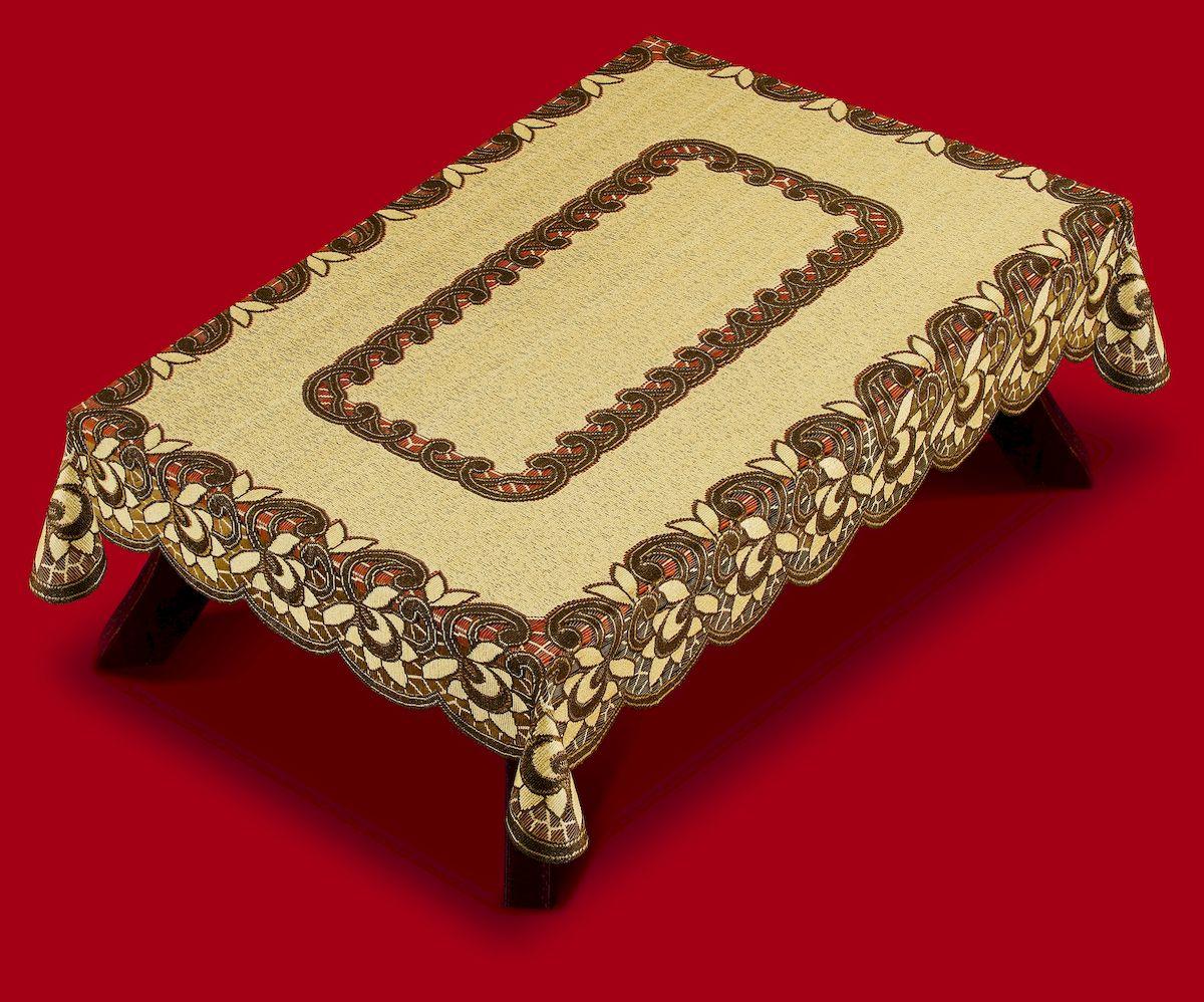 Скатерть Haft, прямоугольная, цвет: коричневый, бежевый, 120 x 170 см. 387801004900000360Великолепная скатерть Haft, выполненная из полиэстера, органично впишется в интерьер любого помещения, а оригинальный дизайн удовлетворит даже самый изысканный вкус.Скатерть Haft создаст праздничное настроение и станет прекрасным дополнением интерьера гостиной, кухни или столовой.
