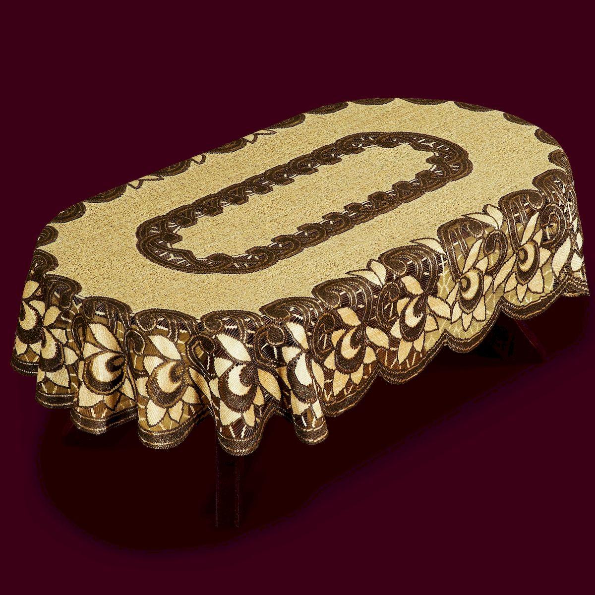 Скатерть Haft, овальная, цвет: коричневый, бежевый, 150 x 100 см. 387814630003364517Великолепная скатерть Haft, выполненная из полиэстера, органично впишется в интерьер любого помещения, а оригинальный дизайн удовлетворит даже самый изысканный вкус.Скатерть Haft создаст праздничное настроение и станет прекрасным дополнением интерьера гостиной, кухни или столовой.