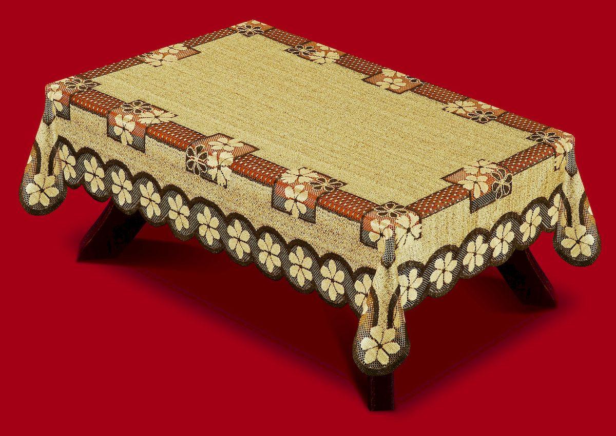 Скатерть Haft, прямоугольная, цвет: оранжевый, коричневый, 120 x 160 см. 387901539Великолепная скатерть Haft, выполненная из полиэстера, органично впишется в интерьер любого помещения, а оригинальный дизайн удовлетворит даже самый изысканный вкус.Скатерть Haft создаст праздничное настроение и станет прекрасным дополнением интерьера гостиной, кухни или столовой.