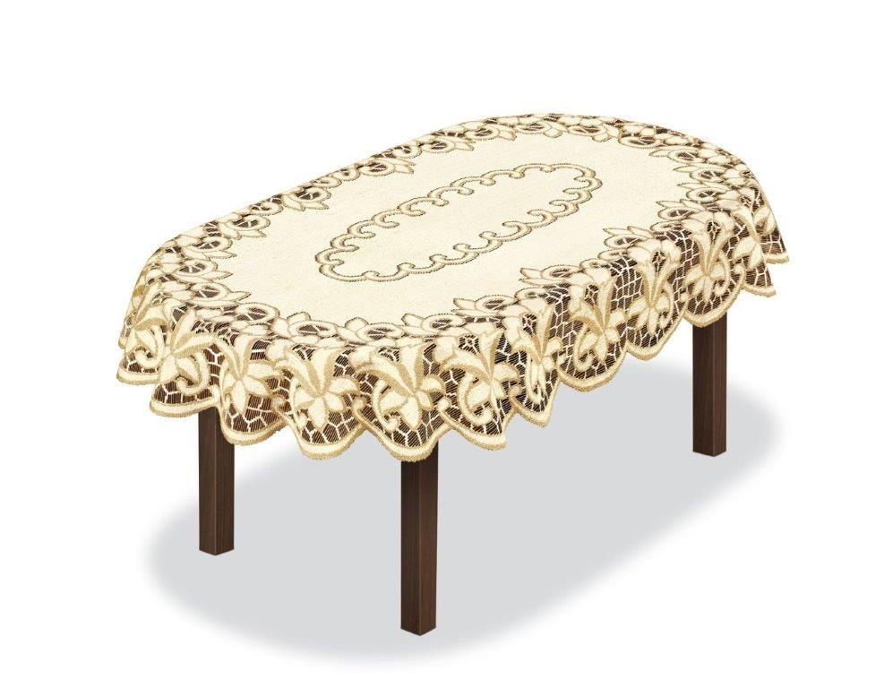 Скатерть Haft, овальная, цвет: кремовый, золотистый, 220 x 145 см. 20484180608Великолепная скатерть Haft, выполненная из полиэстера, органично впишется в интерьер любого помещения, а оригинальный дизайн удовлетворит даже самый изысканный вкус.Скатерть Haft создаст праздничное настроение и станет прекрасным дополнением интерьера гостиной, кухни или столовой.