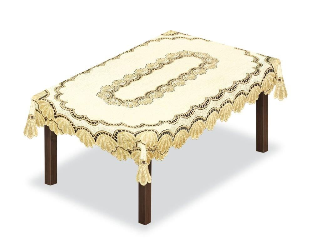 Скатерть Haft, прямоугольная, цвет: кремовый, золотистый, 180 x 135 см. 20485010.01.03.0063Великолепная скатерть Haft, выполненная из полиэстера, органично впишется в интерьер любого помещения, а оригинальный дизайн удовлетворит даже самый изысканный вкус.Скатерть Haft создаст праздничное настроение и станет прекрасным дополнением интерьера гостиной, кухни или столовой.