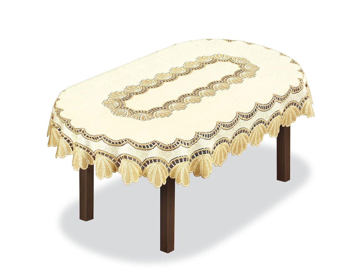 Скатерть Haft, овальная, цвет: кремовый, золотистый, 150 x 100 см. 20485110со5925Великолепная скатерть Haft, выполненная из полиэстера, органично впишется в интерьер любого помещения, а оригинальный дизайн удовлетворит даже самый изысканный вкус.Скатерть Haft создаст праздничное настроение и станет прекрасным дополнением интерьера гостиной, кухни или столовой.