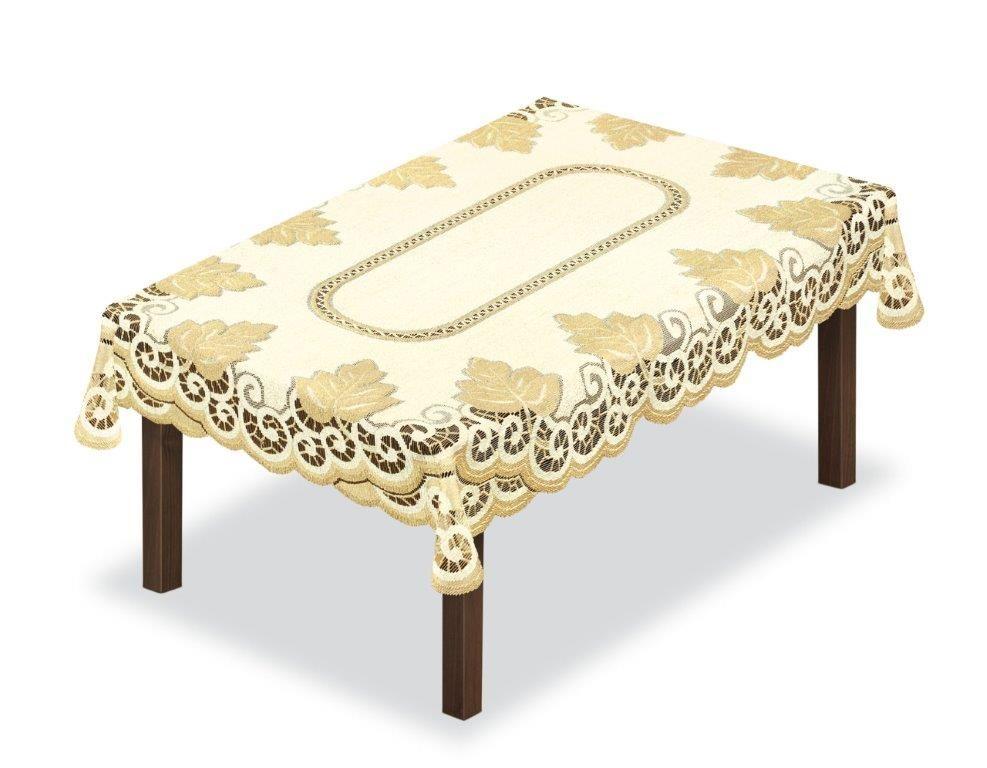 Скатерть Haft, прямоугольная, цвет: кремовый, золотистый, 120 x 160 см. 2051402044Великолепная скатерть Haft, выполненная из полиэстера, органично впишется в интерьер любого помещения, а оригинальный дизайн удовлетворит даже самый изысканный вкус.Скатерть Haft создаст праздничное настроение и станет прекрасным дополнением интерьера гостиной, кухни или столовой.