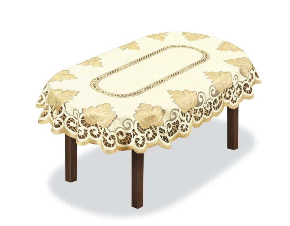 Скатерть Haft, овальная, цвет: кремовый, золотистый, 150 x 100 см. 2051413121050140Великолепная скатерть Haft, выполненная из полиэстера, органично впишется в интерьер любого помещения, а оригинальный дизайн удовлетворит даже самый изысканный вкус.Скатерть Haft создаст праздничное настроение и станет прекрасным дополнением интерьера гостиной, кухни или столовой.