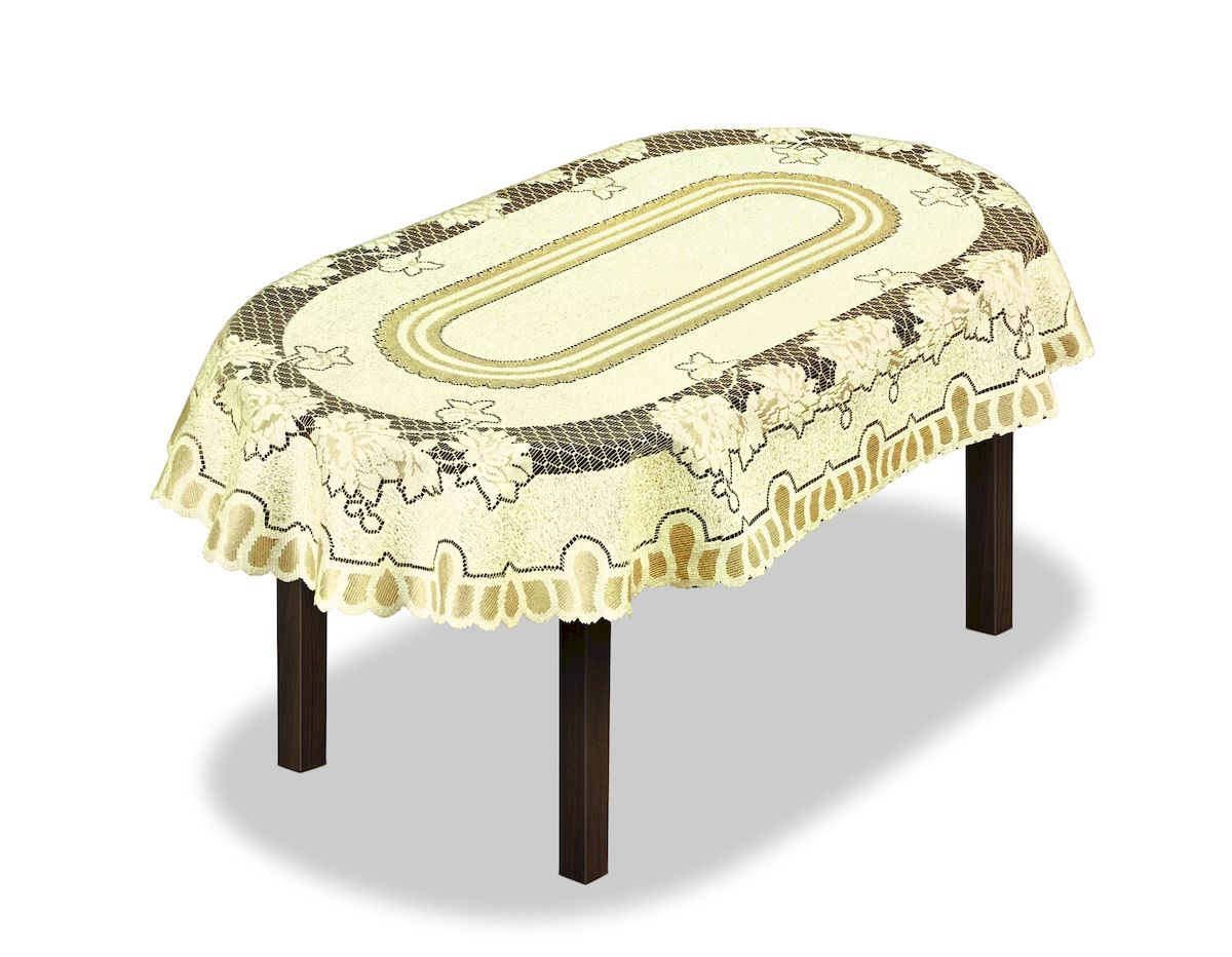 Скатерть Haft, овальная, цвет: кремовый, золотистый, 120 x 160 см. 22656187500Великолепная скатерть Haft, выполненная из полиэстера, органично впишется в интерьер любого помещения, а оригинальный дизайн удовлетворит даже самый изысканный вкус.Скатерть Haft создаст праздничное настроение и станет прекрасным дополнением интерьера гостиной, кухни или столовой.
