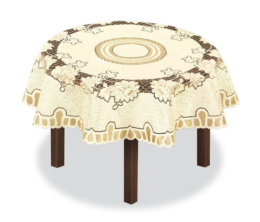 Скатерть Haft, круглая, цвет: кремовый, золотистый, диаметр 150 см. 22656395242Великолепная скатерть Haft, выполненная из полиэстера, органично впишется в интерьер любого помещения, а оригинальный дизайн удовлетворит даже самый изысканный вкус.Скатерть Haft создаст праздничное настроение и станет прекрасным дополнением интерьера гостиной, кухни или столовой.