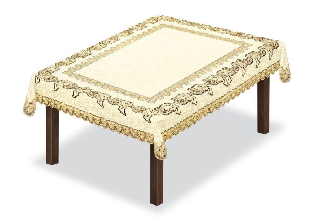 Скатерть Haft, прямоугольная, цвет: кремовый, золотистый, 150 x 100 см. 227930226563/200Великолепная скатерть Haft, выполненная из полиэстера, органично впишется в интерьер любого помещения, а оригинальный дизайн удовлетворит даже самый изысканный вкус.Скатерть Haft создаст праздничное настроение и станет прекрасным дополнением интерьера гостиной, кухни или столовой.