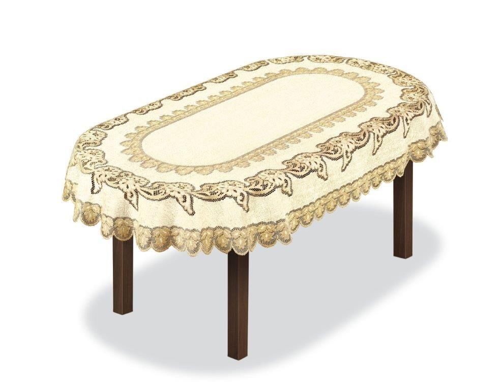 Скатерть Haft, овальная, цвет: кремовый, золотистый, 300 x 150 см. 2279313112033660Великолепная скатерть Haft, выполненная из полиэстера, органично впишется в интерьер любого помещения, а оригинальный дизайн удовлетворит даже самый изысканный вкус.Скатерть Haft создаст праздничное настроение и станет прекрасным дополнением интерьера гостиной, кухни или столовой.