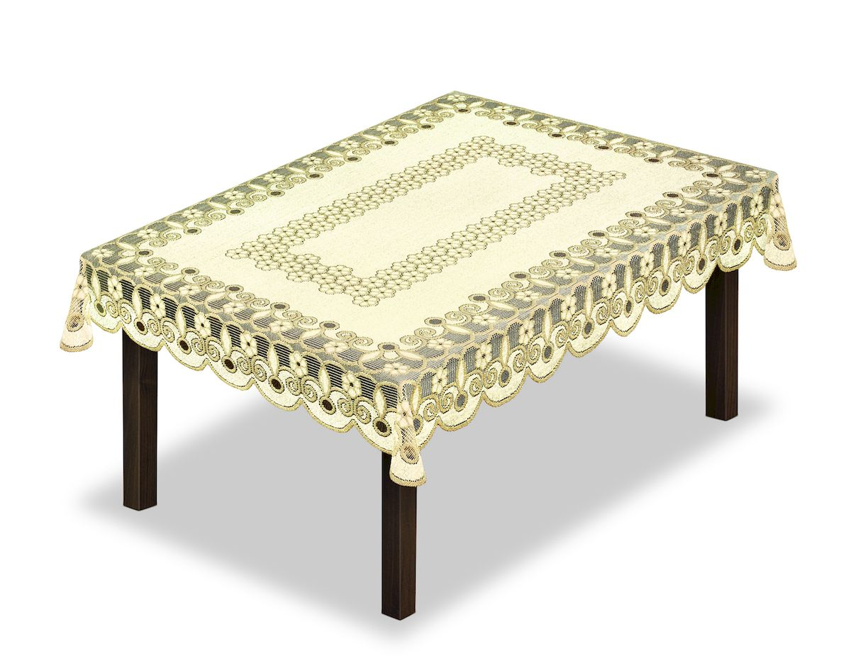 Скатерть Haft, прямоугольная, цвет: кремовый, золотистый, 150 x 100 см. 231490718/CHAR002Великолепная скатерть Haft, выполненная из полиэстера, органично впишется в интерьер любого помещения, а оригинальный дизайн удовлетворит даже самый изысканный вкус.Скатерть Haft создаст праздничное настроение и станет прекрасным дополнением интерьера гостиной, кухни или столовой.