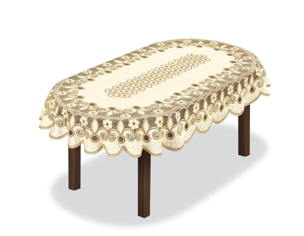 Скатерть Haft, овальная, цвет: кремовый, золотистый, 150 x 100 см. 231491FL100140-331-04Великолепная скатерть Haft, выполненная из полиэстера, органично впишется в интерьер любого помещения, а оригинальный дизайн удовлетворит даже самый изысканный вкус.Скатерть Haft создаст праздничное настроение и станет прекрасным дополнением интерьера гостиной, кухни или столовой.