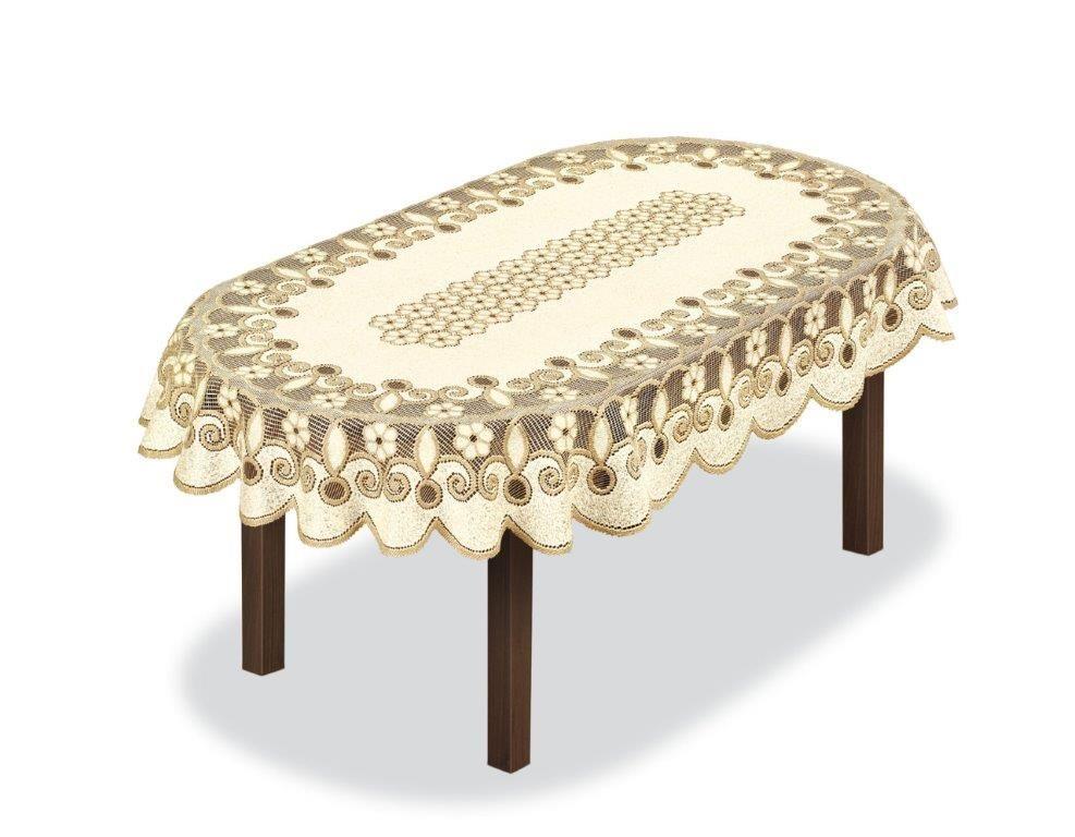 Скатерть Haft, овальная, цвет: кремовый, золотистый, 130 x 180 см. 2314913162120120Великолепная скатерть Haft, выполненная из полиэстера, органично впишется в интерьер любого помещения, а оригинальный дизайн удовлетворит даже самый изысканный вкус.Скатерть Haft создаст праздничное настроение и станет прекрасным дополнением интерьера гостиной, кухни или столовой.
