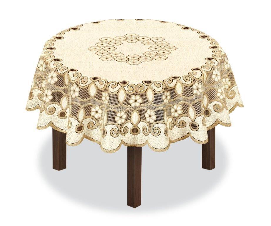 Скатерть Haft, круглая, цвет: кремовый, золотистый, диаметр 150 см. 23149380043Великолепная скатерть Haft, выполненная из полиэстера, органично впишется в интерьер любого помещения, а оригинальный дизайн удовлетворит даже самый изысканный вкус.Скатерть Haft создаст праздничное настроение и станет прекрасным дополнением интерьера гостиной, кухни или столовой.