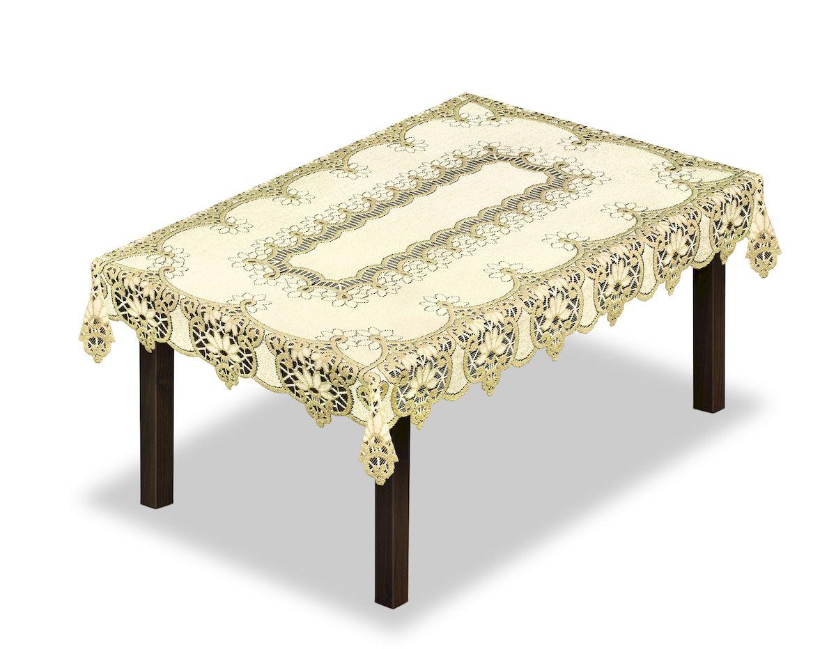 Скатерть Haft, прямоугольная, цвет: кремовый, золотистый, 130 x 180 см. 2315003121258670Великолепная скатерть Haft, выполненная из полиэстера, органично впишется в интерьер любого помещения, а оригинальный дизайн удовлетворит даже самый изысканный вкус.Скатерть Haft создаст праздничное настроение и станет прекрасным дополнением интерьера гостиной, кухни или столовой.