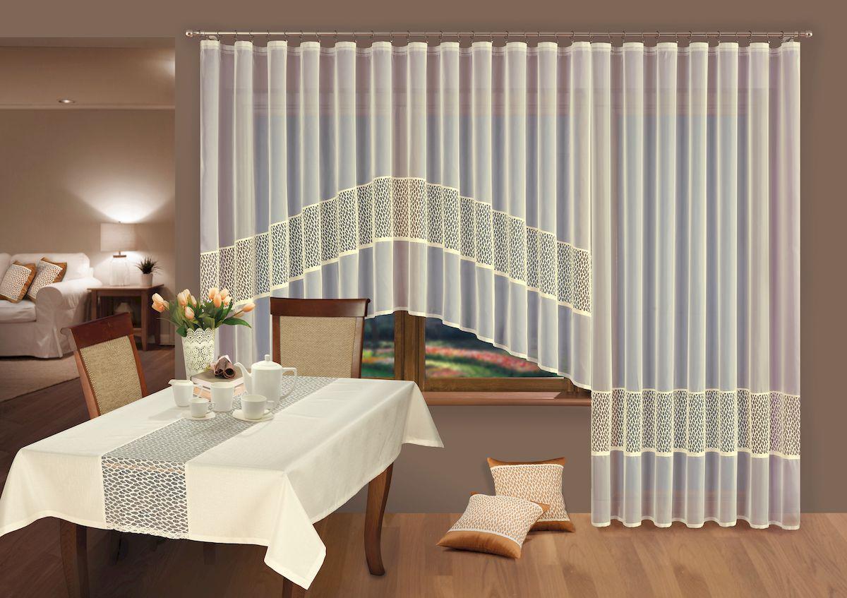 Комплект гардин Wisan, на ленте, цвет: кремовый, высота 150 см, 250 см. 219Х53599Комплект Wisan состоит из двух гардин разной высоты, выполненных из легкого полупрозрачного полиэстера. Изделия станут великолепным украшением окна на кухне, в спальне или гостиной. Качественный материал, нежная цветовая гамма и оригинальный дизайн привлекут к себе внимание и позволят комплекту органично вписаться в интерьер помещения. Изделия оснащены шторной лентой под зажимы для крепления на карниз. Отлично подходят для окна с балконной дверью.