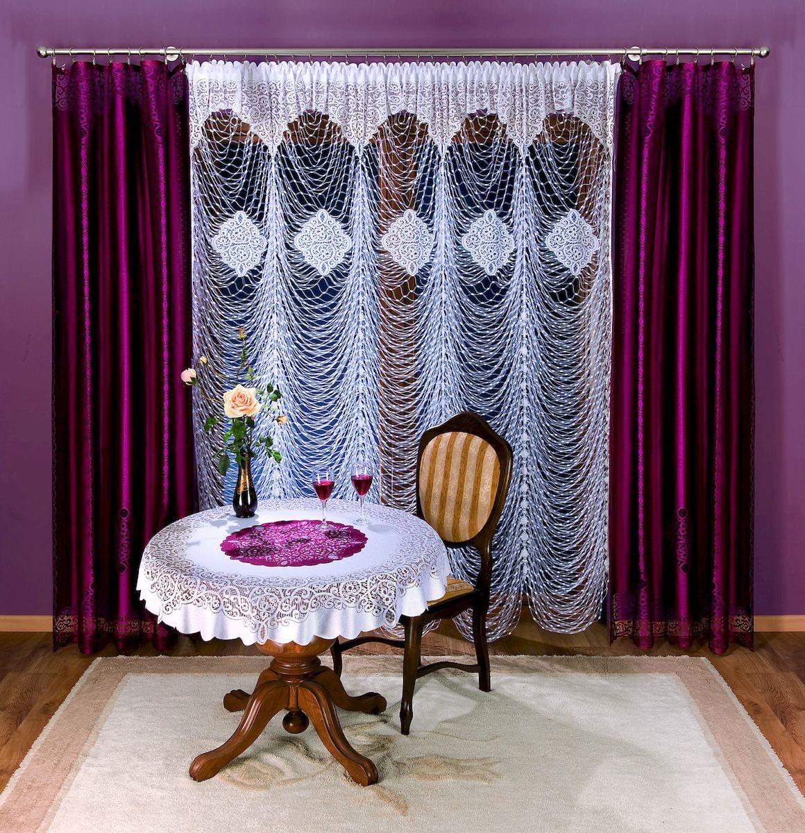 Гардина Wisan, цвет: белый, высота 250 см. 280A39111258120Гардина бордового цвета из ткани средней плотности с гипюровым элементом.Размер: ширина 150 х высота 250