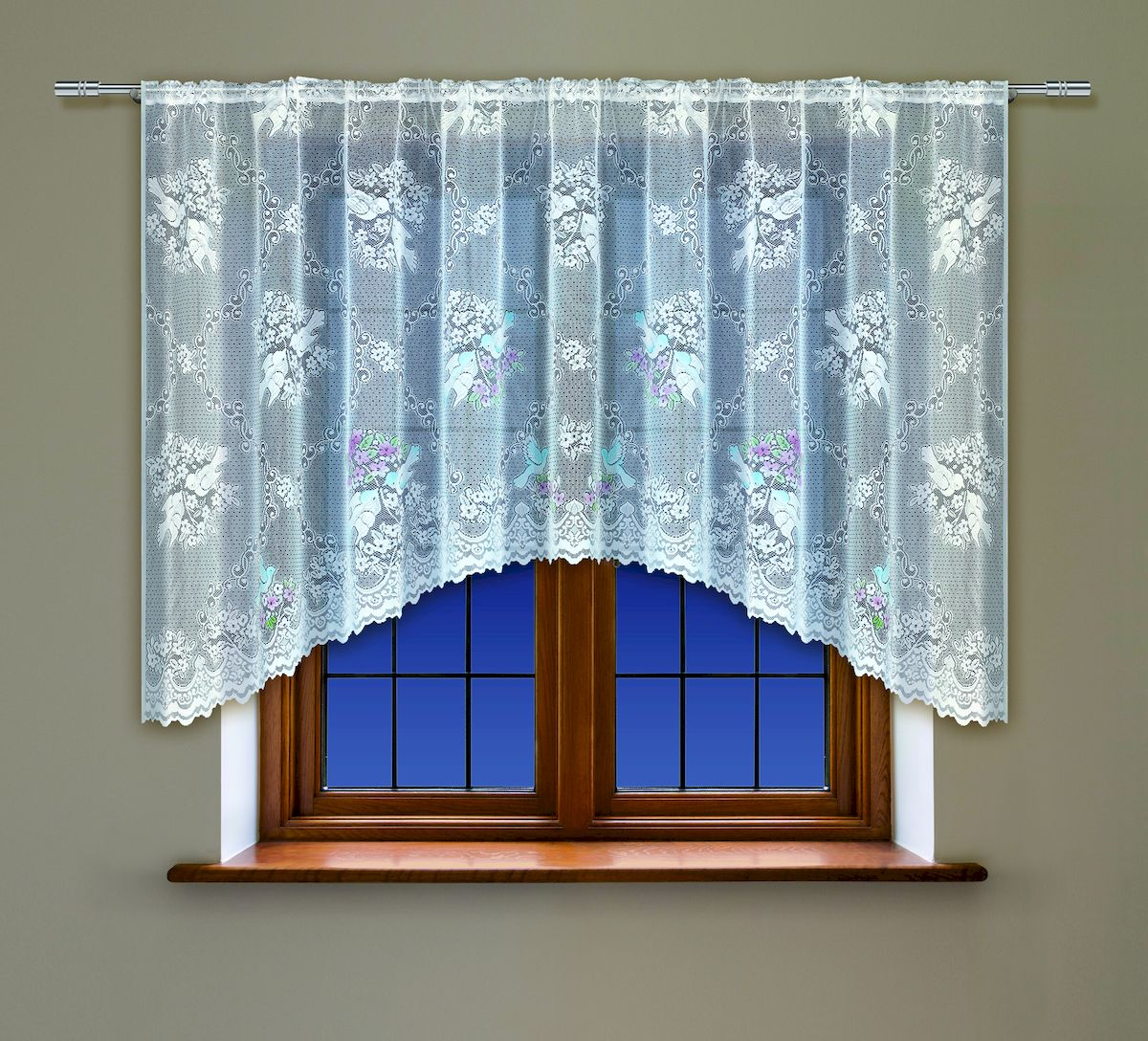 Гардина Haft, на кулиске, цвет: белый, высота 160 см. 22216179957_ЛентаВоздушная гардина Haft, выполненная из полиэстера, великолепно украсит любое окно.Изделие имеет оригинальный дизайн и органично впишется в интерьер помещения.Гардина крепится на карниз при помощи кулиски.