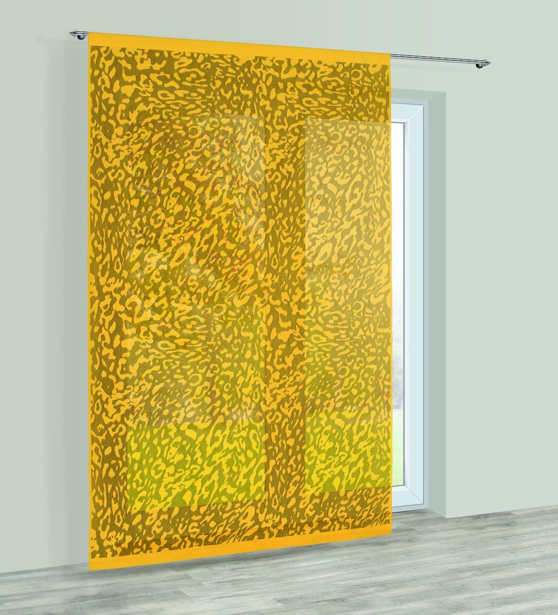 Гардина Haft, на кулиске, цвет: желтый, высота 250 см. 22854082087Гардина Haft великолепно украсит любое окно. Изделие выполнено из полиэстера и декорировано под окрас животного.Изделие имеет оригинальный дизайн и органично впишется в интерьер помещения.Гардина крепится на карниз при помощи кулиски.