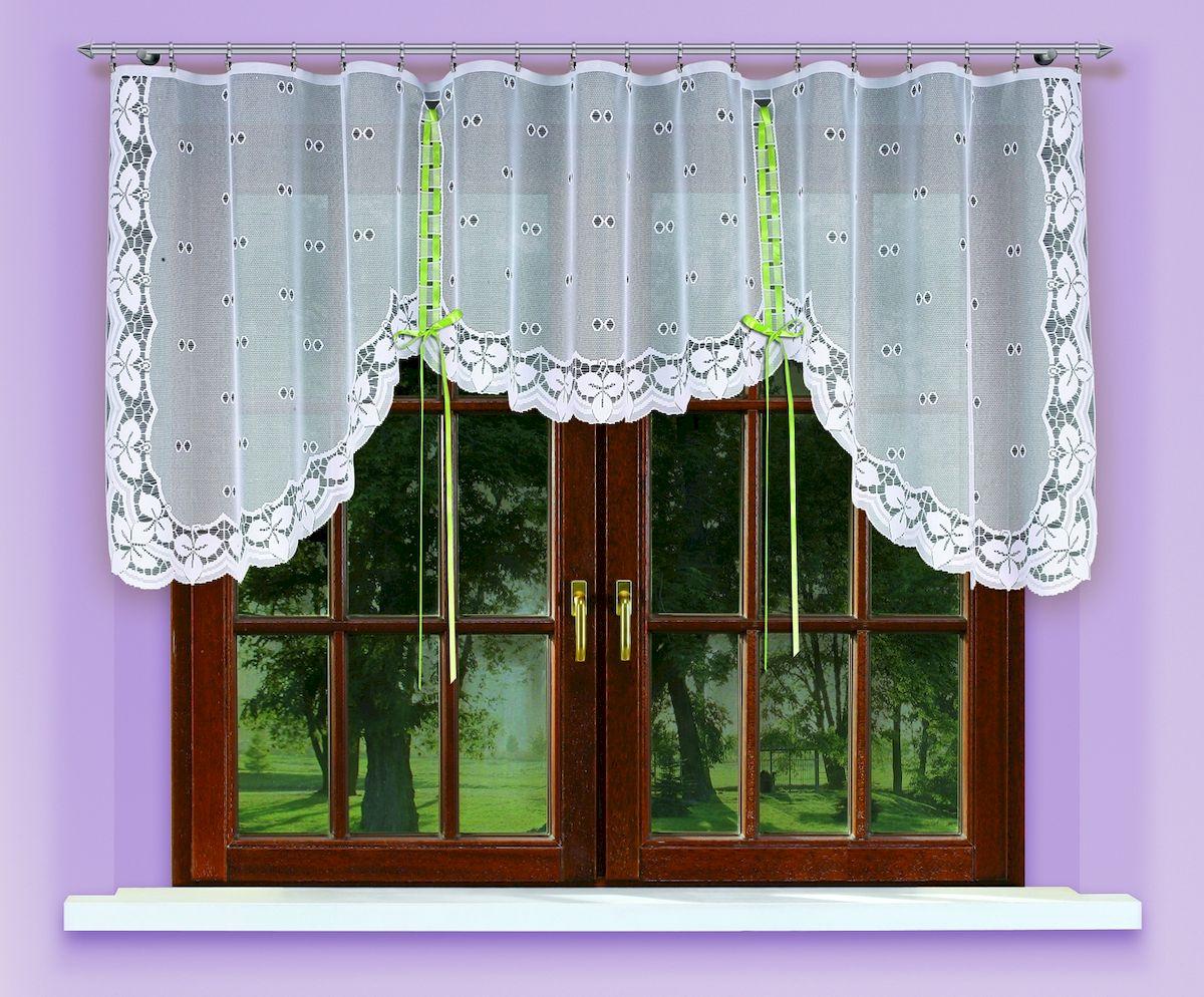 Гардина Haft, на ленте, цвет: белый, высота 120 см. 546001004900000360Гардина Haft, изготовленная из полиэстера, станет великолепным украшением любого окна. Тонкое плетение и оригинальный дизайн привлекут к себе внимание. Изделие органично впишется в интерьер. Гардина крепится на карниз при помощи ленты, которая поможет красиво и равномерно задрапировать верх.