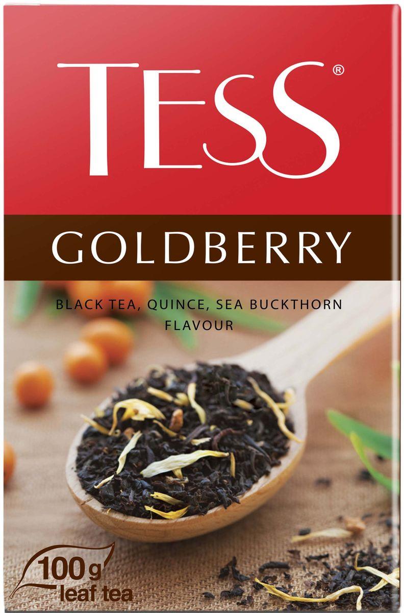 Tess Goldberry черный листовой чай с айвой и ароматом облепихи, 100 г1132-15Изысканная гамма этого купажа открывает множество сложных оттенков, деликатно сменяющих друг друга. Тонкая сладковатая нота и своеобразный, чуть вяжущий вкус спелой айвы переплетается с легкой горчинкой облепихи, подчеркивая мягкую пряность превосходного черного цейлонского чая.