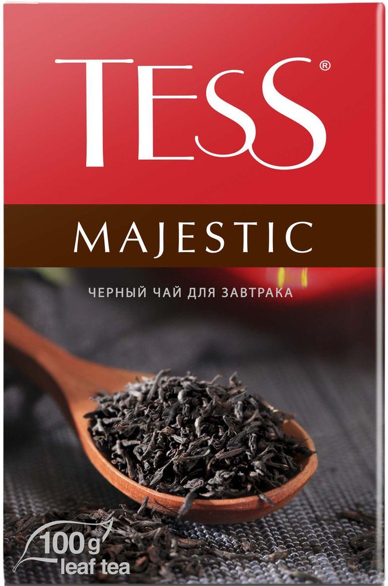 Tess Majestic черный листовой чай, 100 г0120710Виртуозный купаж изысканных сортов черного чая из Цейлона, Индии и Кении. Благородный цейлонский чай, выращенный в мягком климате предгорных плантаций, наполняет гамму глубокими пряными оттенками, а уникальный северо-индийский чай Дарджилинг вносит в букет характерные мускатные штрихи и чудесный аромат с цветочными нотами.