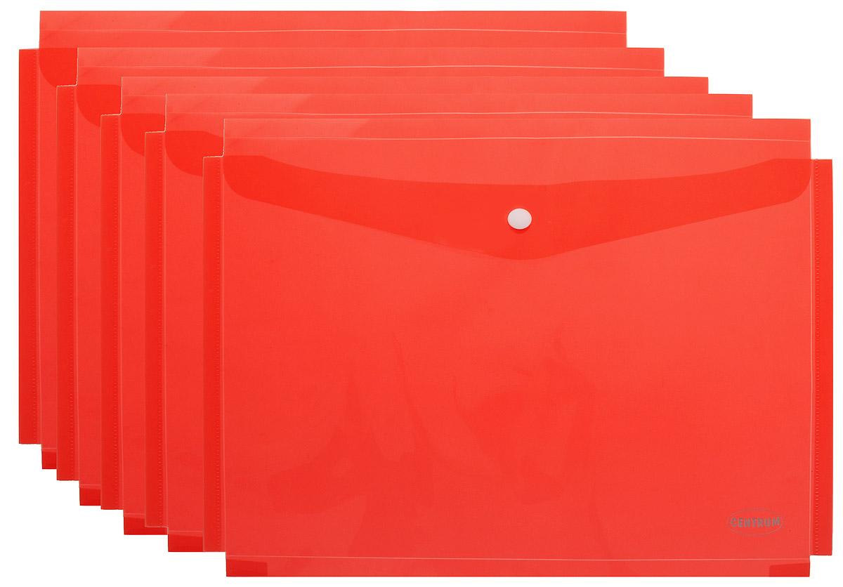 Centrum Папка-конверт на кнопке цвет красный 5 шт85467Папка-конверт на кнопке Centrum - это удобный и функциональный офисный инструмент, предназначенный для хранения и транспортировки рабочих бумаг и документов формата А4. Папка изготовлена из полупрозрачного пластика красного цвета, закрывается клапаном на кнопке. В комплект входят 5 папок.Папка-конверт - это незаменимый атрибут для студента, школьника, офисного работника. Такая папка надежно сохранит ваши документы и сбережет их от повреждений, пыли и влаги.