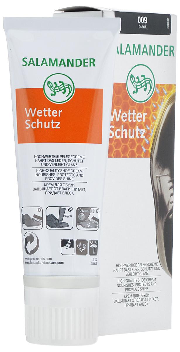Крем для обуви Salamander Wetter Schutz, цвет: черный (009), 75 мл5000204836516Крем для обуви Salamander Wetter Schutz с натуральным пчелиным воском предназначен для ухода за гладкой кожей. Обновляет цвет, интенсивно питает, сохраняет кожу мягкой и эластичной, придает блеск, а также обладает водоотталкивающими свойствами. Состав: воски, силикон, фторкарбоновые смолы, эмульгатор, ланолин, загуститель, консерванты, парфюм, красители, вода.