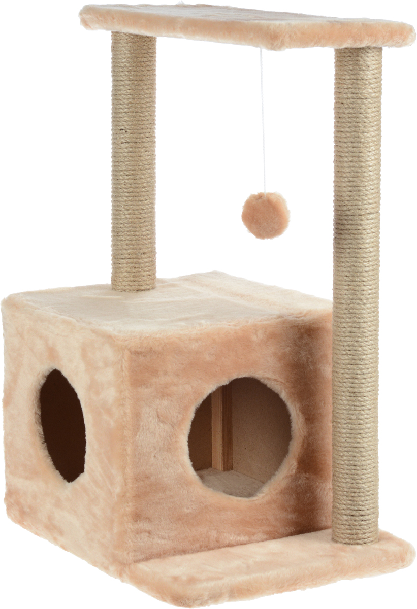 Домик-когтеточка Меридиан Квадратный, 2-ярусный, с игрушкой, цвет: светло-коричневый, бежевый, 50 х 36 х 75 смД127СКДомик-когтеточка Меридиан Квадратный выполнен из высококачественного ДВП и ДСП и обтянут искусственным мехом. Изделие предназначено для кошек. Комплекс имеет 2 яруса. Ваш домашний питомец будет с удовольствием точить когти о специальные столбики, изготовленные из джута. А отдохнуть он сможет либо на полках, либо в уютном домике. Изделие снабжено подвесной игрушкой. Домик-когтеточка Меридиан Квадратный принесет пользу не только вашему питомцу, но и вам, так как он сохранит мебель от когтей и шерсти.Общий размер: 50 х 36 х 75 см.Размер домика: 37 х 37 х 34 см.Размер полки: 50 х 24 см.Диаметр столба когтеточки: 21 см.