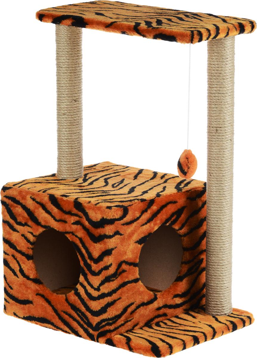 Домик-когтеточка Меридиан Квадратный, 2-ярусный, с игрушкой, цвет: оранжевый, черный, бежевый, 50 х 36 х 75 см0120710Домик-когтеточка Меридиан Квадратный выполнен из высококачественного ДВП и ДСП и обтянут искусственным мехом. Изделие предназначено для кошек. Комплекс имеет 2 яруса. Ваш домашний питомец будет с удовольствием точить когти о специальные столбики, изготовленные из джута. А отдохнуть он сможет либо на полках, либо в уютном домике. Изделие снабжено подвесной игрушкой. Домик-когтеточка Меридиан Квадратный принесет пользу не только вашему питомцу, но и вам, так как он сохранит мебель от когтей и шерсти.Общий размер: 50 х 36 х 75 см.Размер домика: 37 х 37 х 34 см.Размер полки: 50 х 24 см.