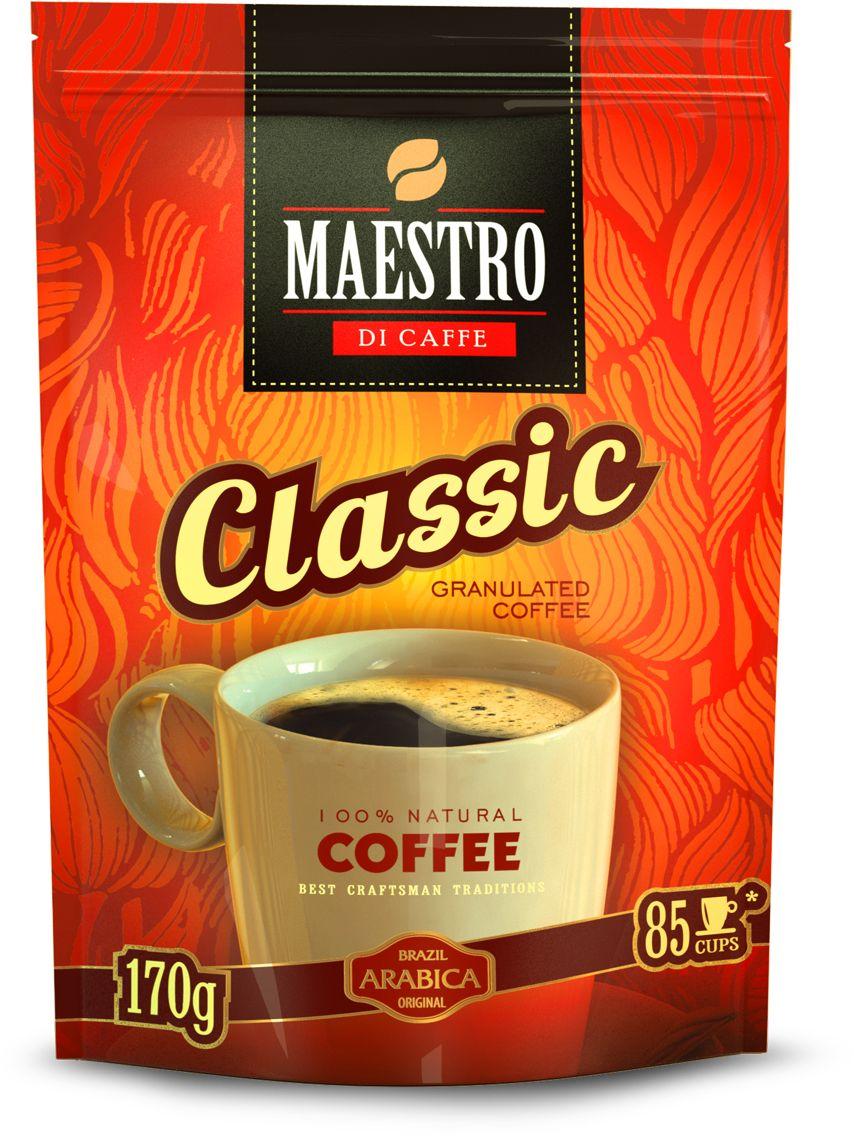 Maestro Di Caffe Classic кофе растворимый гранулированный, 170 г0120710Кофе MAESTRO Classic изготовлен из зерен бразильской арабики Santos, выращенных в штатах Сан-Паулу и Эспириту-Санту.