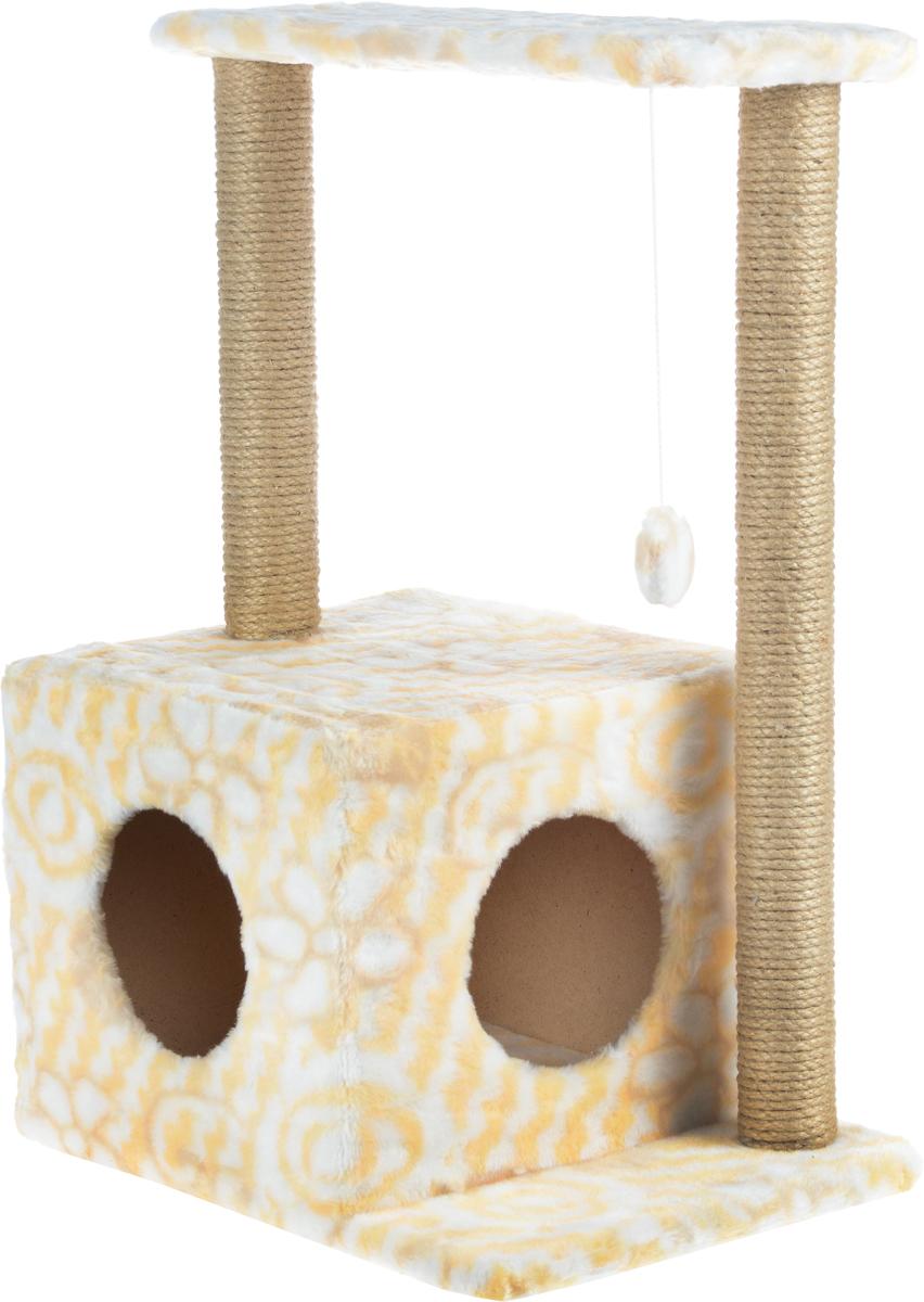 Домик-когтеточка Меридиан Квадратный, 2-ярусный, с игрушкой, цвет: белый, желтый, бежевый, 50 х 36 х 75 см125_бежевыйДомик-когтеточка Меридиан Квадратный выполнен из высококачественного ДВП и ДСП и обтянут искусственным мехом. Изделие предназначено для кошек. Комплекс имеет 2 яруса. Ваш домашний питомец будет с удовольствием точить когти о специальные столбики, изготовленные из джута. А отдохнуть он сможет либо на полках, либо в уютном домике. Изделие снабжено подвесной игрушкой. Домик-когтеточка Меридиан Квадратный принесет пользу не только вашему питомцу, но и вам, так как он сохранит мебель от когтей и шерсти.Общий размер: 50 х 36 х 75 см.Размер домика: 37 х 37 х 34 см.Размер полки: 51 х 25 см.