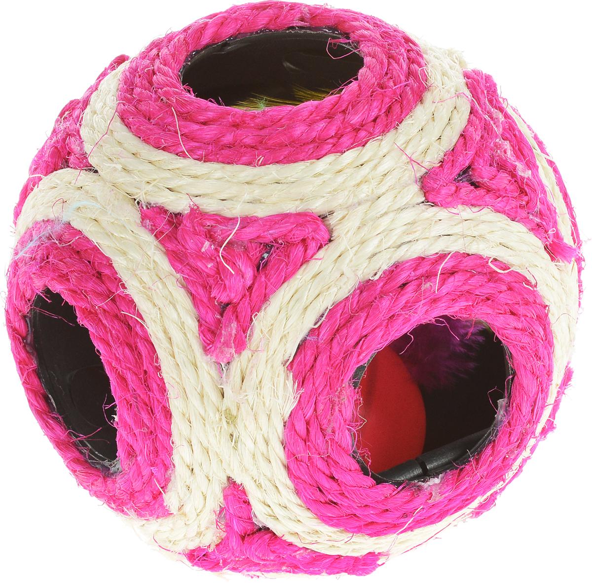 Когтеточка Triol Мяч, цвет: розовый, слоновая кость, диаметр 11,5 см0120710Когтеточка Triol Мяч выполнена из разноцветного сизаля. Внутри когтеточки расположена игрушка в виде шарика-погремушки с перьями, которые привлекут внимание вашего питомца. Всем кошкам необходимо стачивать когти. Когтеточка - один из самых необходимых аксессуаров для кошки. Когтеточка должна висеть на такой высоте, чтобы кошка могла встать на задние лапы и вытянуть наверх передние. Для приучения к когтеточке можно натереть ее сухой валерьянкой или кошачьей мятой. Когтеточка Triol Мяч поможет вашему любимцу стачивать когти и при этом не портить вашу мебель.Диаметр когтеточки: 11,5 см.