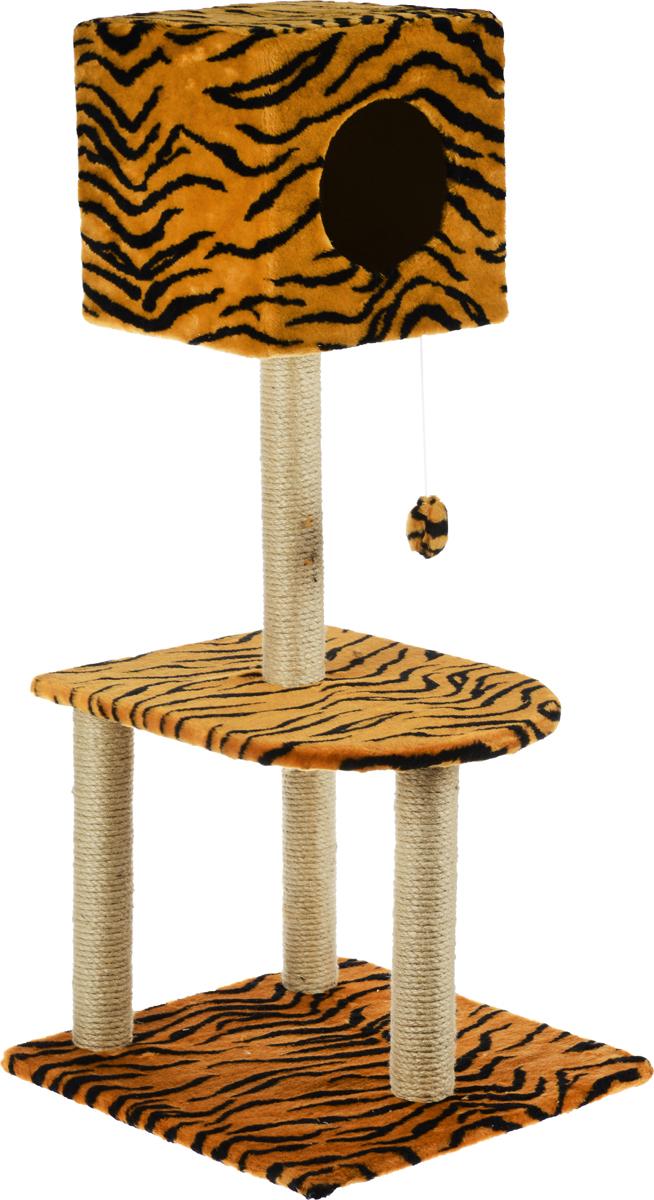Домик-когтеточка Меридиан Квадратный, 3-ярусный, с игрушкой, цвет: коричневый, черный, 51 х 51 х 105 смК103К ЛаДомик-когтеточка Меридиан Квадратный выполнен из высококачественного ДВП и ДСП и обтянут искусственным мехом. Изделие предназначено для кошек. Комплекс имеет 3 яруса. Ваш домашний питомец будет с удовольствием точить когти о специальные столбики, изготовленные из джута. А отдохнуть он сможет либо на полках, либо в расположенном вверху домике. Изделие снабжено подвесной игрушкой. Домик-когтеточка Меридиан Квадратный принесет пользу не только вашему питомцу, но и вам, так как он сохранит мебель от когтей и шерсти.Общий размер: 51 х 51 х 105 см.Размер домика: 31 х 31 х 31 см.