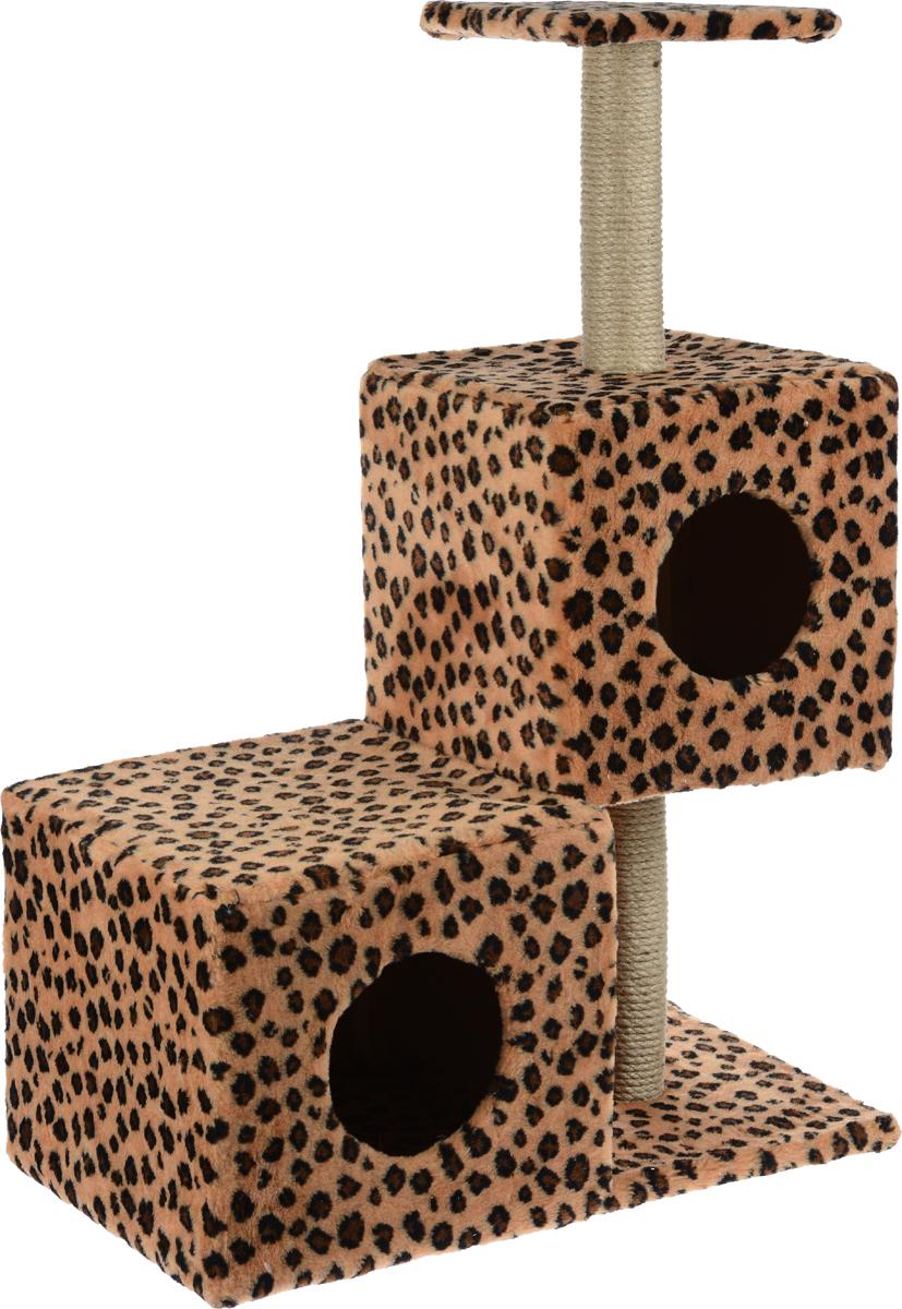 Домик-когтеточка Меридиан Разноуровневый, 3-ярусный, цвет: коричневый, черный, 66 х 36 х 94 см0120710Домик-когтеточка Меридиан Разноуровневый выполнен из высококачественного ДВП и ДСП и обтянут искусственным мехом. Изделие предназначено для кошек. Комплекс имеет 3 яруса. Ваш домашний питомец будет с удовольствием точить когти о специальные столбики, изготовленные из джута. А отдохнуть он сможет либо на полке, либо в домиках. Домик-когтеточка Меридиан Разноуровневый принесет пользу не только вашему питомцу, но и вам, так как он сохранит мебель от когтей и шерсти.Общий размер: 66 х 36 х 94 см.Размер нижнего домика: 36 х 36 х 32 см.Размер верхнего домика: 32 х 32 х 32 см.Размер полки: 26 х 26 см.