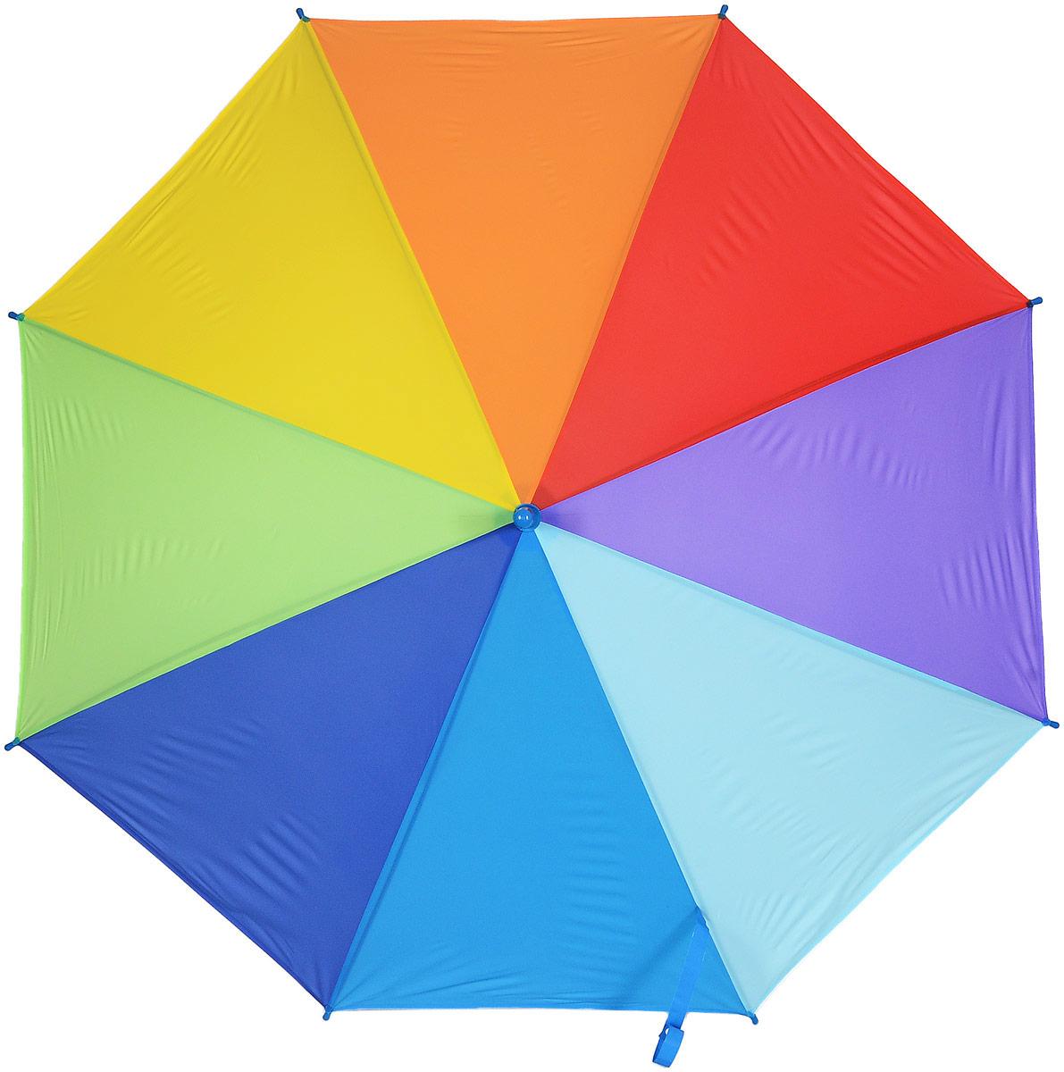 Зонт женский Эврика Радуга, цвет: зеленый, желтый, синий. 975042591АСтильный механический зонт Эврика Радуга даже в ненастную погоду позволит вам оставаться стильной и элегантной. Каркас зонта из металла состоит из восьми спиц, оснащен удобной рукояткой. Купол зонта выполнен из прочного поливинилхлорида. Закрытый купол фиксируется хлястиком на кнопке.