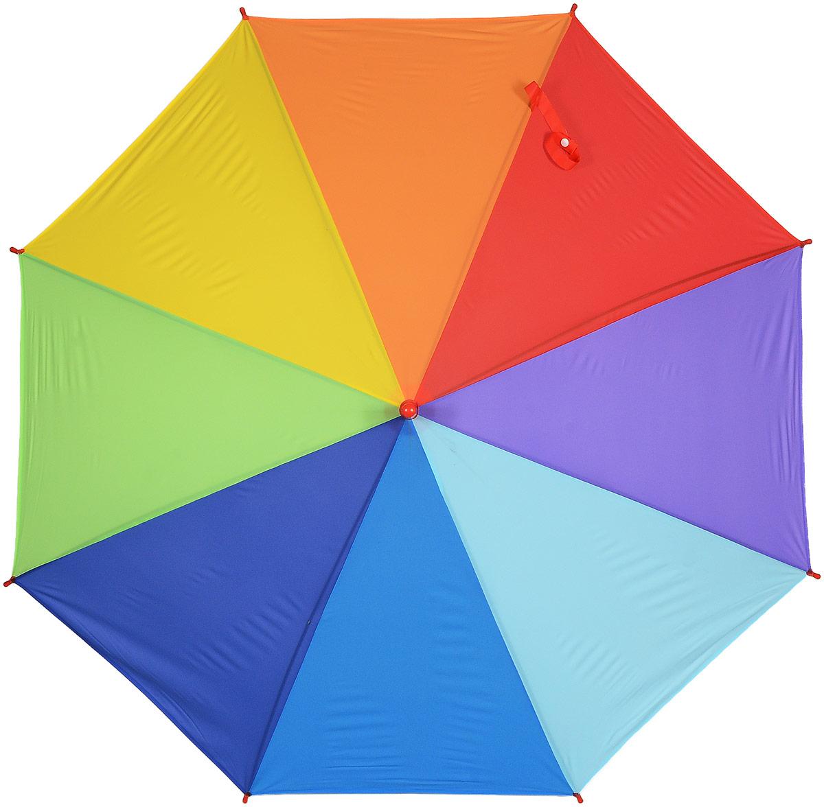 Зонт женский Эврика Радуга, цвет: зеленый, желтый, синий. 97503K50K502473_0010Стильный механический зонт Эврика Радуга даже в ненастную погоду позволит вам оставаться стильной и элегантной. Каркас зонта из металла состоит из восьми спиц, оснащен удобной рукояткой. Купол зонта выполнен из прочного поливинилхлорида. Закрытый купол фиксируется хлястиком на кнопке.