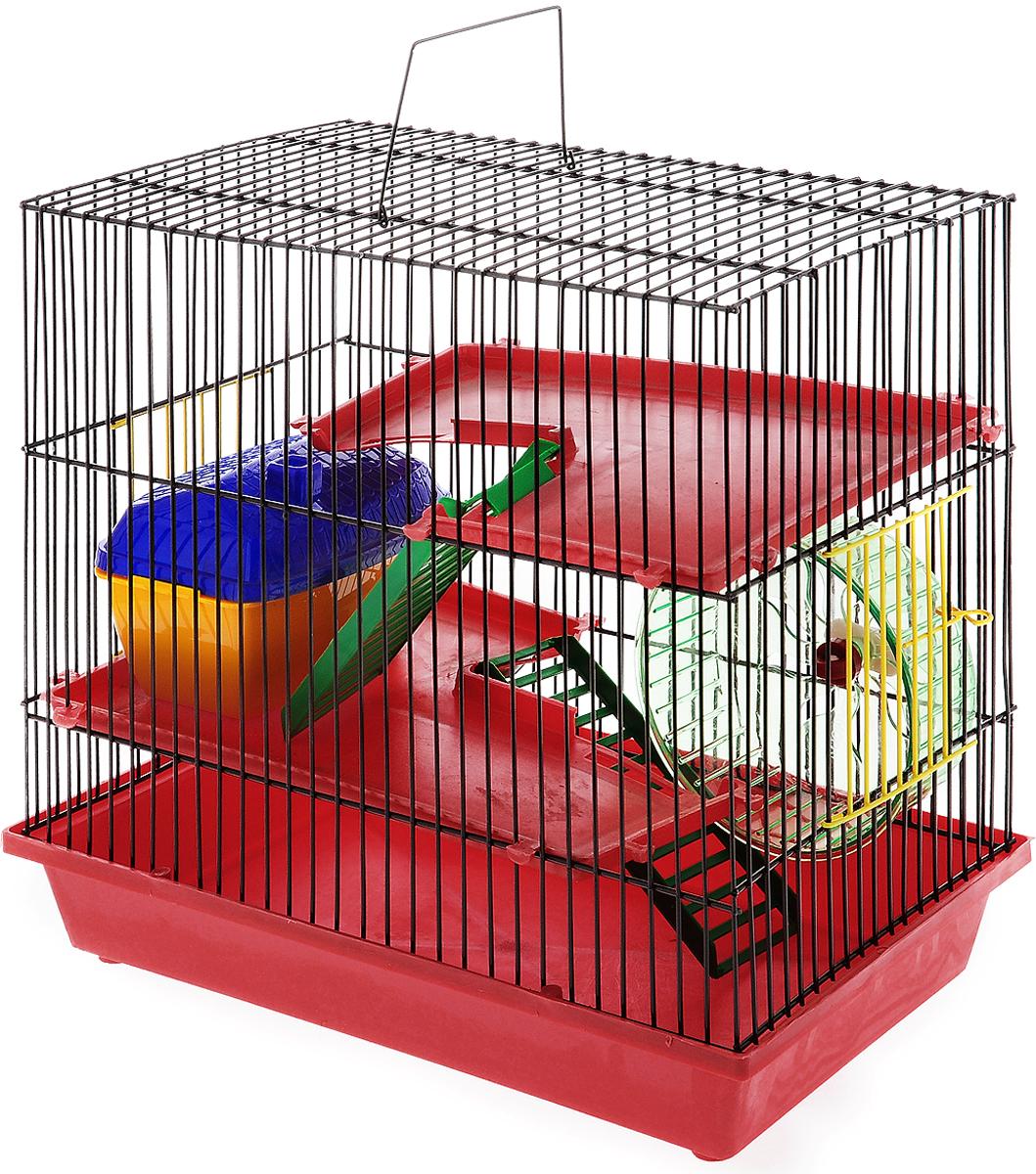 Клетка для грызунов ЗооМарк, 3-этажная, цвет: красный поддон, коричневая решетка, 36 х 22,5 х 34 см0120710Клетка ЗооМарк, выполненная из полипропилена и металла, подходит для мелких грызунов. Изделие трехэтажное, оборудовано колесом для подвижных игр и пластиковым домиком. Клетка имеет яркий поддон, удобна в использовании и легко чистится. Сверху имеется ручка для переноски, а сбоку удобная дверца. Такая клетка станет уединенным личным пространством и уютным домиком для маленького грызуна.