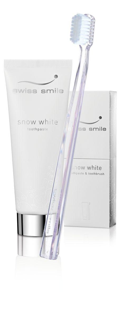 Swiss Smile Набор, состоящий из отбеливающей зубной пасты Snow White и отбеливающей зубной щеткиMP59.4D1 отбеливающая зубная паста 75 мл, 1 отбеливающая зубная щётка прозрачного цвета , оригинальная упаковка