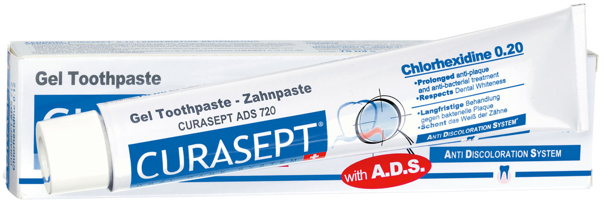 Curaden ADS 720 Паста зубная гелеобразная, 0,20% хлоргексидина (75 мл)MP59.4DОказывает сильное антибактериальное действие. Снижает образование зубного налета. Рекомендуется для пациентов с ортопедическими конструкциями, а также пациентам, страдающим кариесом. Система АДС препятствует окрашиванию зубной эмали и слизистой, не вызывает раздражения, не изменяет вкусовых ощущений. Противопоказания: Повышенная чувствительность к компонентам препарата. Аллергические реакции. Регулярно консультируйтесь с врачом о необходимости продления срока применения. Особые примечания: Не глотать. Только для наружного применения. Применять под контролем врача-стоматолога. Хранить в недоступном для детей месте. Номинальное количество: 75 мл