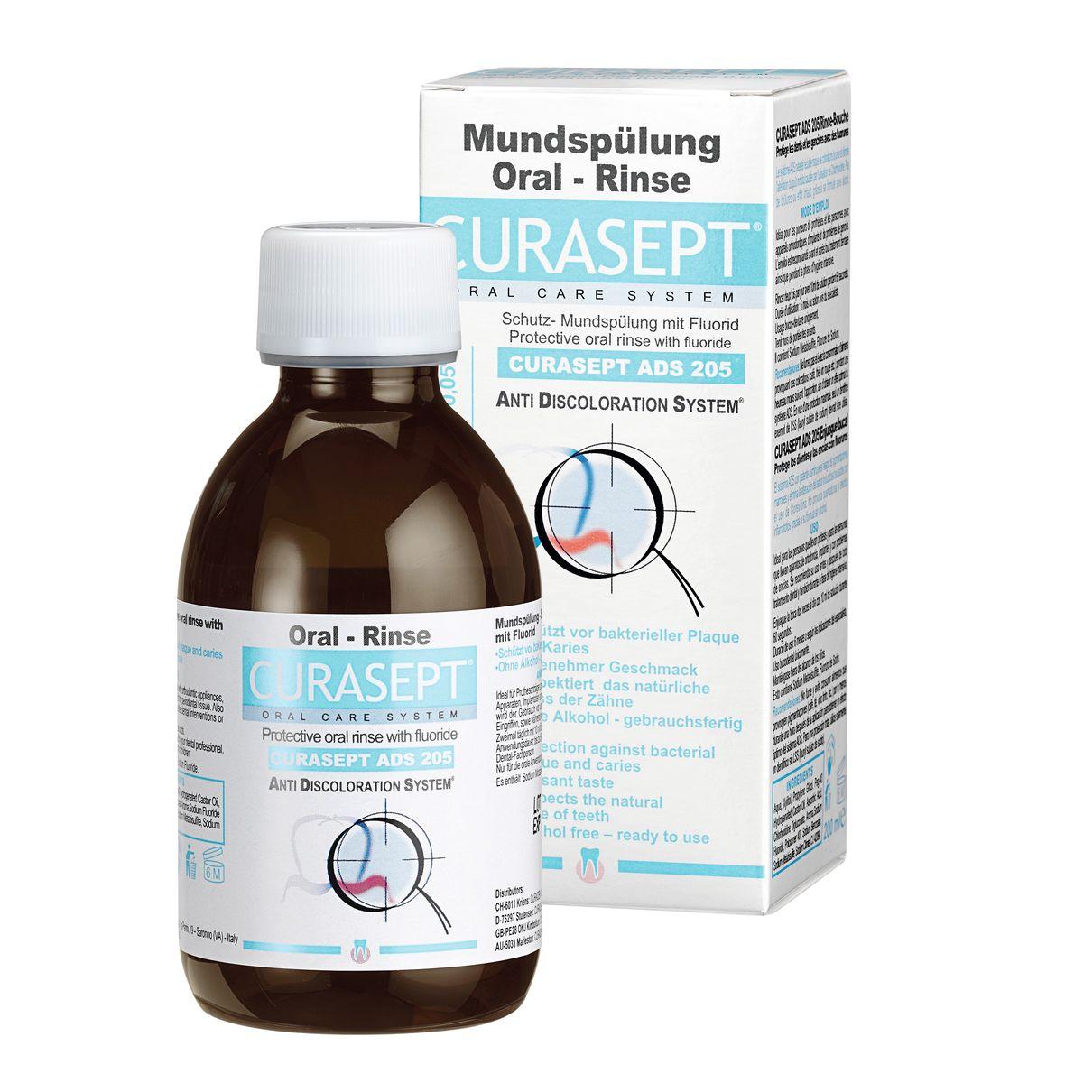 Curaden ADS 205 Жидкость-ополаскиватель, 0,05% хлоргексидина (200 мл)1104737735Используется в послеоперационный период. Предотвращает послеоперационные осложнения. Рекомендуется в качестве профилактического средства, использовать не более 3-х месяцев под контролем врача-стоматолога. Является вспомогательным средством для поддержания гигиены во время лечения брекет-системой. Снижает образование зубного налета. Не изменяет цвет эмали зубов, не окрашивает.Номинальное количество: 200мл.
