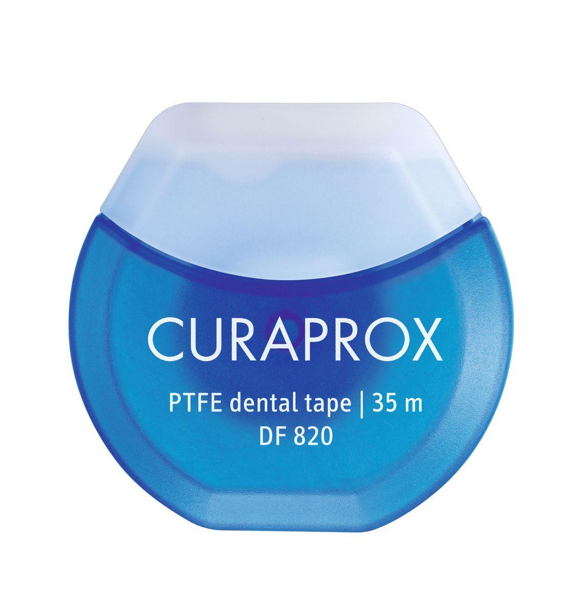 Curaprox DF 820 Нить межзубная тефлоновая с хлоргексидином, 35 мCPS011 plus UHS409Нить для очищение межзубных промежутков. Рекомендации: использовать ежедневно после приема пищи, минимум 1 раз в день. Длина 35 м.