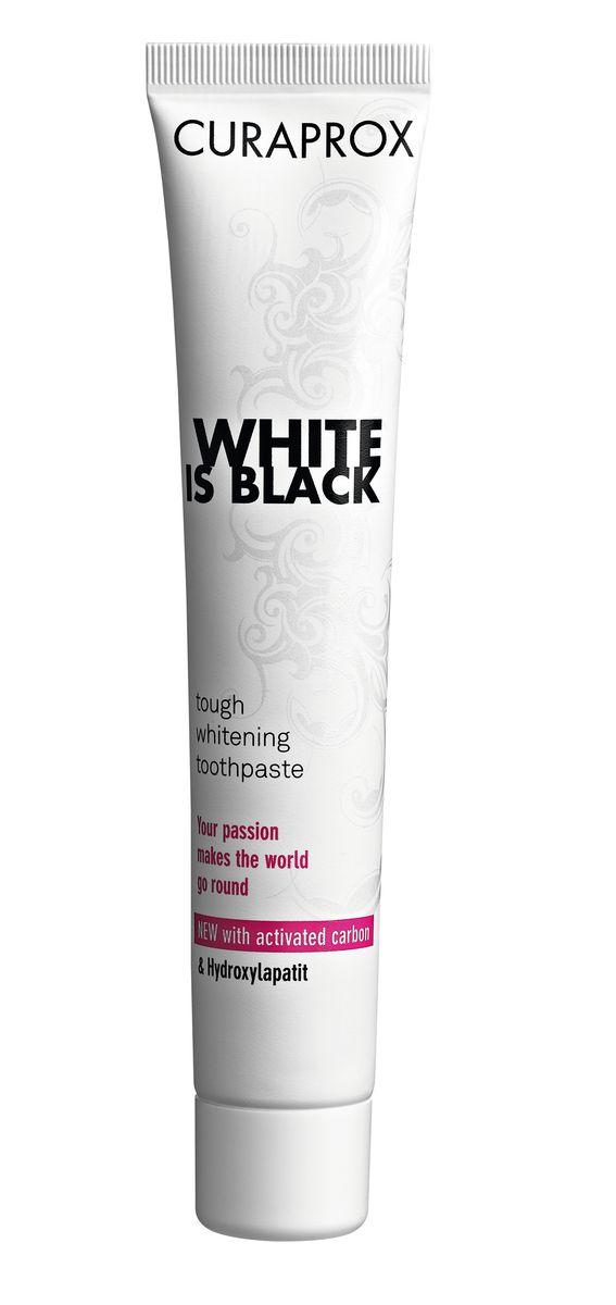 Curaprox White Is Black Отбеливающая зубная паста, 90 мл, вкус мяты03-01-008Активированный уголь поглощает вещества, которые вызывают изменение цвета зубов, в то время как гидроксиапатит укрепляет эмаль и делает зубы белоснежными. Ферменты усиливают защитные свойства слюны. Двойная защита от кариеса благодаря фторидам натрия. Зубная паста имеет вкус лайма. Противопоказания: не выявлено. Индекс абразивности RDA: 50. Номинальное количество: 90 мл.