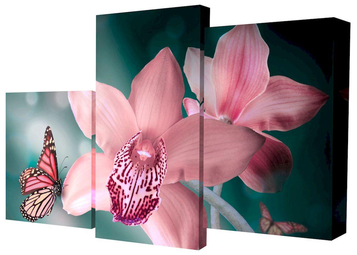Картина модульная Toplight Цветы, 50 х 78 см. TL-MM1037Брелок для сумкиМодульная картина Toplight Цветы выполнена из синтетического полотна, подрамник из МДФ. Картина состоит из трех частей и выглядит очень аккуратно и эстетично благодаря такому способу оформления как галерейная натяжка. Подрамник исключает провисание полотна. Современные технологии, уникальное оборудование и цифровая печать, используемые в производстве, делают постер устойчивым к выцветанию и обеспечивают исключительное качество произведений. Благодаря наличию необходимых креплений в комплекте установка не займет много времени. Модульная картина - это прекрасная возможность создать яркий акцент при оформлении любого помещения. Изделие обязательно привлечет внимание и подарит немало приятных впечатлений своим обладателям. Правила ухода: можно протирать сухой, мягкой тканью. Размеры модулей: 26 х 31 см, 26 х 50 см, 26 х 40 см. Рекомендованное расстояние между сегментами: 1 см. Толщина подрамника: 2 см.