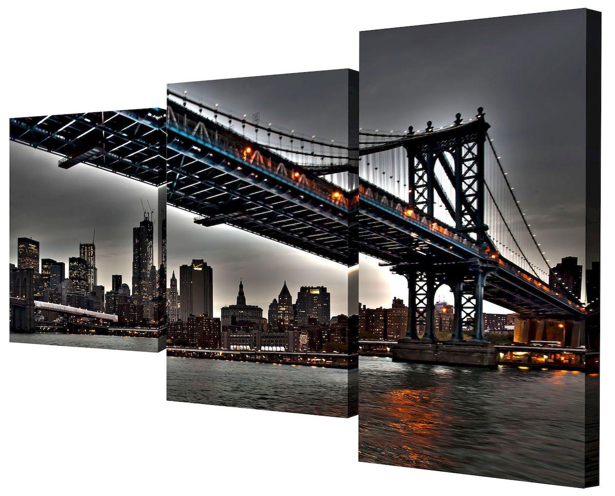 Картина модульная Toplight Город, 50 х 78 см. TL-MM105728907 4Модульная картина Toplight Город выполнена из синтетического полотна, подрамник из МДФ. Картина состоит из трех частей и выглядит очень аккуратно и эстетично благодаря такому способу оформления как галерейная натяжка. Подрамник исключает провисание полотна. Современные технологии, уникальное оборудование и цифровая печать, используемые в производстве, делают постер устойчивым к выцветанию и обеспечивают исключительное качество произведений. Благодаря наличию необходимых креплений в комплекте установка не займет много времени. Модульная картина - это прекрасная возможность создать яркий акцент при оформлении любого помещения. Изделие обязательно привлечет внимание и подарит немало приятных впечатлений своим обладателям. Правила ухода: можно протирать сухой, мягкой тканью. Размеры модулей: 26 х 31 см, 26 х 50 см, 26 х 40 см. Рекомендованное расстояние между сегментами: 1 см. Толщина подрамника: 2 см.