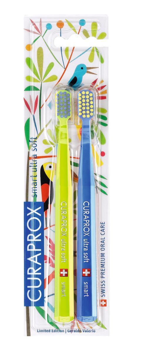 Curaprox CS smart/2 Duo Jungle Набор детских зубных щеток Curaprox CS smart ultra soft (2 шт.)MP59.4DЩетки предназначены для ежедневного очищения зубов. Каждая щетка содержит 5460 мягких активных щетинок (диаметр 0,10мм) и обеспечивает качественное и нетравматичное удаление зубного налета.