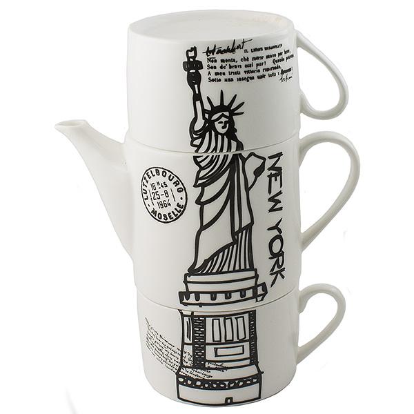 Чайник Эврика Нью-Йорк, с двумя кружкамиFS-91909Необычный чайник Эврика Нью-Йорк выполнен из качественной керамики. Не каждый сразу догадается, что башня на вашей кухне на самом деле представляет собой чайный сет. Чайник с крышкой и две чашки, составленные пирамидкой, воспроизводят изображения знаменитых высоких достопримечательностей разных стран - башен, статуй, колоколен. Оригинальный дизайн и компактность - очевидные достоинства набора.