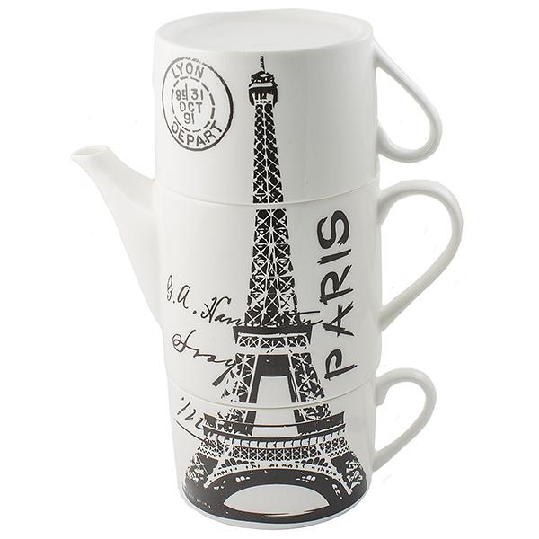 Чайник Эврика Париж, с двумя кружками54 009312Не каждый сразу догадается, что керамическая башня на вашей кухне на самом деле представляет собой чайный сет. Чайник и две чашки, составленные пирамидкой, воспроизводят изображения знаменитых высоких достопримечательностей разных стран - башен, статуй, колоколен. Оригинальный дизайн и компактность - очевидные достоинства набора. Упаковка: картонная коробка Материал: керамика