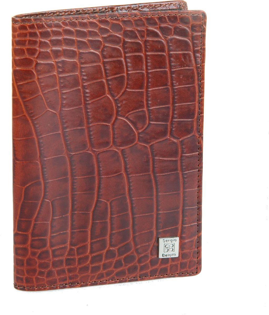 Обложка для паспорта женская Sergio Belotti, цвет: коричневый. 2464325_коричневыйОбложка для паспорта женскаяSergio Belotti выполнена из натуральной кожи. Модель раскладывается пополам,внутри левое поле (ширина 7 см), правое поле - сетка (ширина 4 см), содержит один карман для документов и карман для sim-карты.