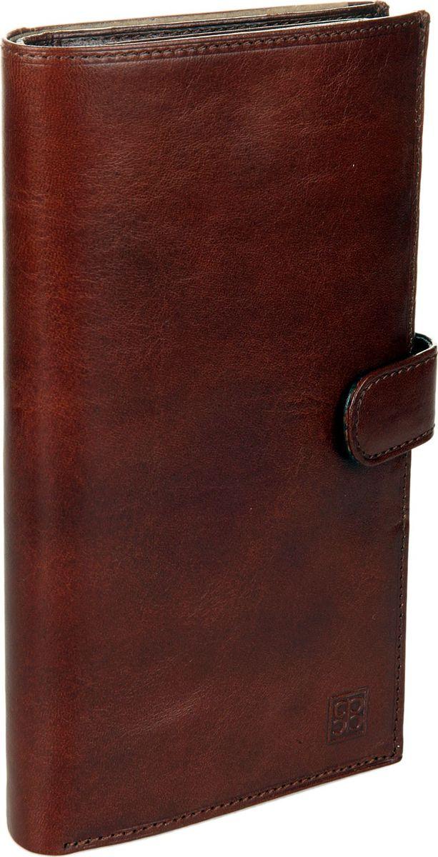Портмоне мужское Sergio Belotti, цвет: коричневый. 1463INT-06501Мужское портмоне Sergio Belotti выполнено из натуральной кожи. Модель закрывается клапаном на кнопке. Внутри один отдел для купюр, отделение для мелочи закрывается на кнопку, четыре потайных кармана, один карман на молнии, два сетчатых кармана для пропуска, одно сетчатое отделение, семь карманов для пластиковых карт.