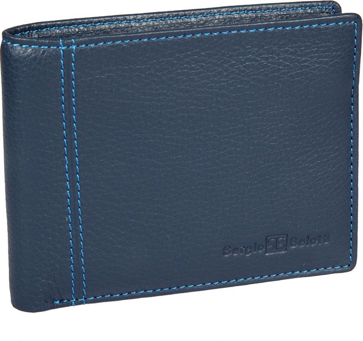 Портмоне мужское Sergio Belotti, цвет: синий. 2766INT-06501Мужское портмоне Sergio Belotti выполнено из натуральной кожи. Модель раскладывается пополам, внутри два отделения для купюр, три потайных кармана, семь кармашков для пластиковых карт, оснащен съемным вкладышем, на котором пять кармашков для пластиковых карт, два из них в сетку.