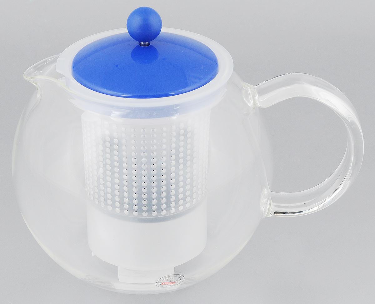Чайник заварочный Bodum Assam, с фильтром, 1 лVT-1520(SR)Заварочный чайник Bodum Assam изготовлен из высококачественного стекла, пластика и нержавеющей стали. Изделие оснащено фильтром, благодаря которому задерживает чаинки и предотвращает попадание их в чашку. Прозрачный корпус обеспечивает легкую очистку. Чайник поможет заварить крепкий ароматный чай и великолепно украсит стол к чаепитию. Можно мыть в посудомоечной машине.Диаметр чайника (по верхнему краю): 9,5 см. Высота чайника (без учета крышки): 12 см.Высота фильтра: 11,5 см.